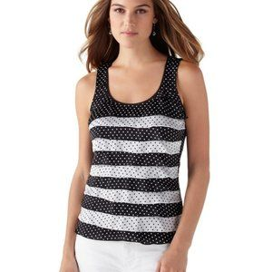 WHBM Polka Dot Tiered Shell Top XS Black White